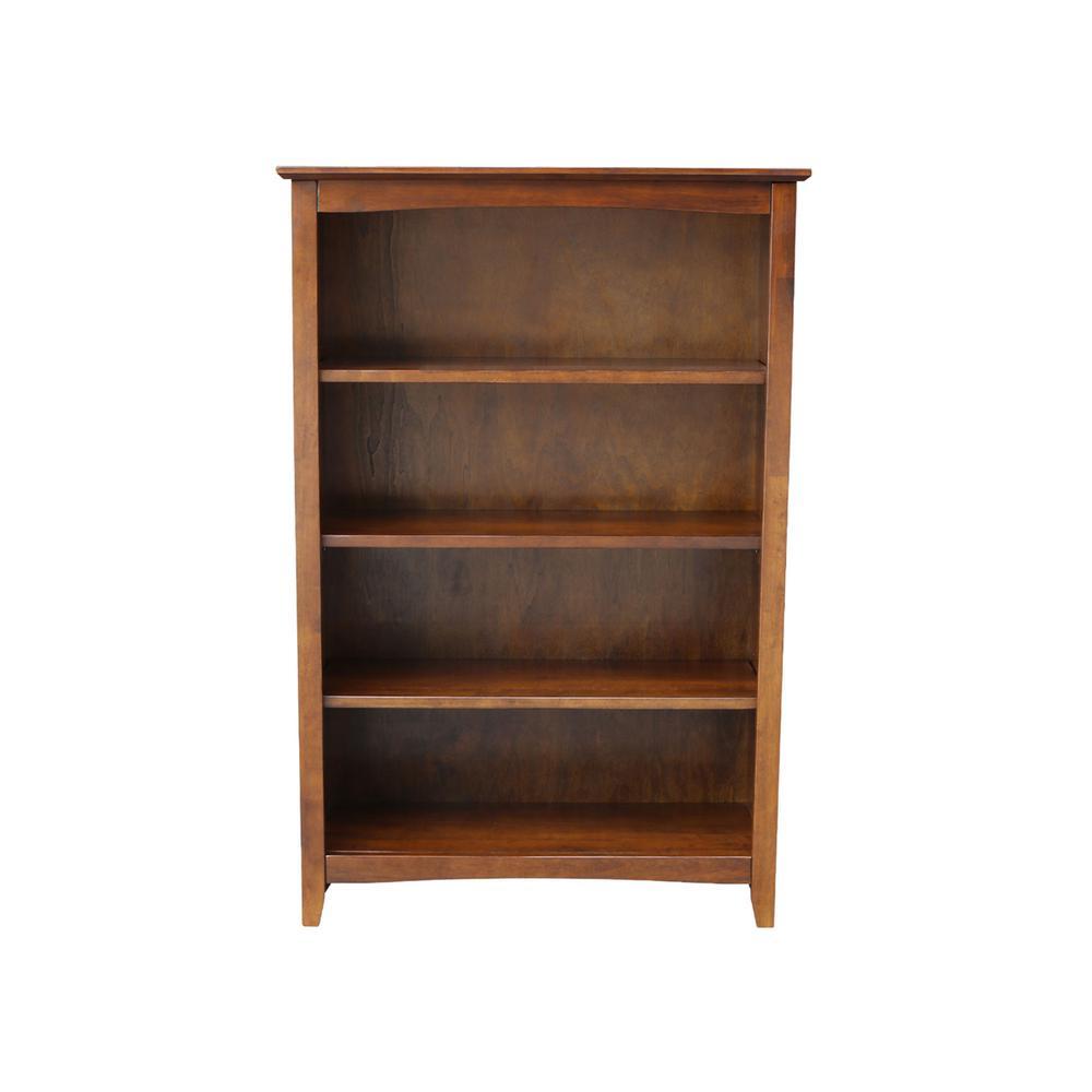 48 in. Espresso Wood 4-shelf Standard Bookcase with Adjustable Shelves