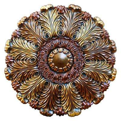31-1/2 in. Acanthus Delirious, Bronze, Gold, Copper Polyurethane Hand Painted Ceiling Medallion