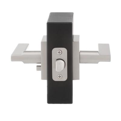 Halifax Square Satin Nickel Privacy Bed/Bath Door Lever (4-Pack)