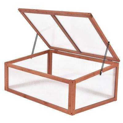 25.0 in. x 39.5 in. x 15.0 in. Wooden Red-brown Portable Cold Frame Greenhouse