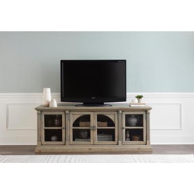 Townsend 74 in. Greige Wood TV Stand Fits TVs Up to 65 in. with Storage Doors