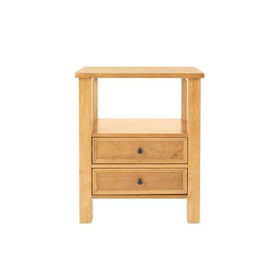 Bainbury 2 Drawer Honey Wood Nightstand (22 in W. X 26 in H.)