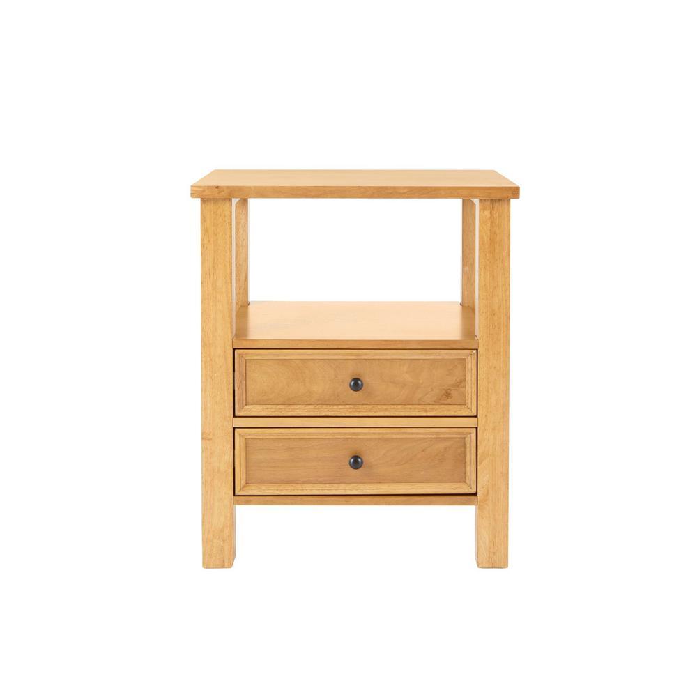 Bainbury 2 Drawer Honey Wood Nightstand (22 in W. X 26 in H.)