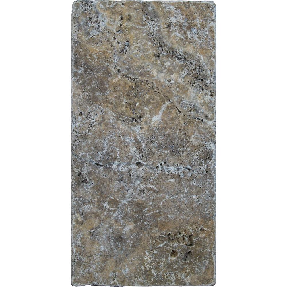 Tuscany Scabas 6 in. x 12 in. Tumbled Travertine Paver Tile