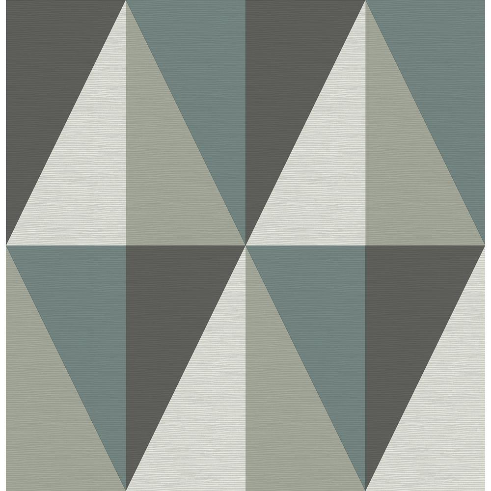 A-Street Aspect Teal Geometric Faux Grasscloth Wallpaper 2902-25539