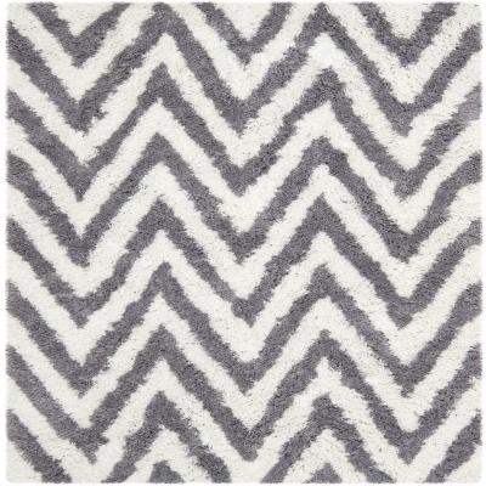 Chevron Shag Ivory/Gray 5 ft. x 5 ft. Square Area Rug