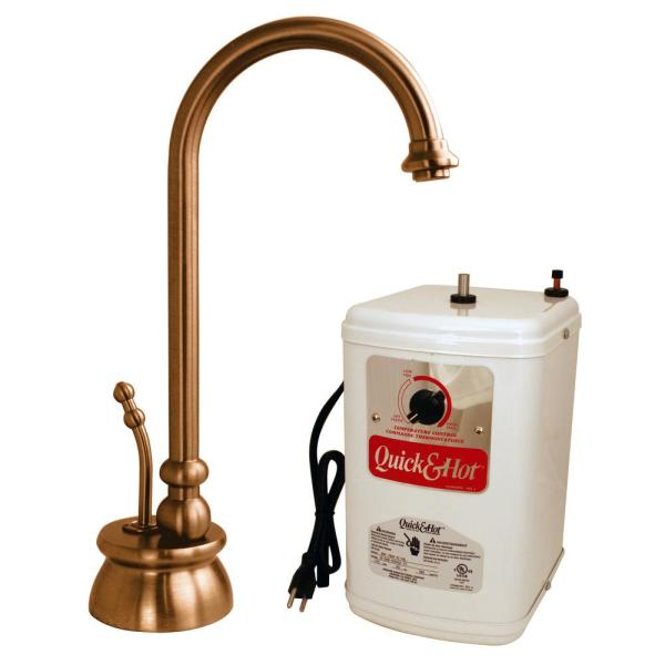Westbrass Calorah Single-Handle Hot Water Dispenser Faucet with Hot Water Tank in Antique Copper