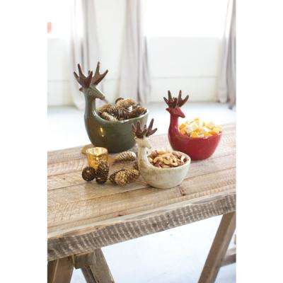 Green, Red and White Decorative Deer Bowls (Set of 3)