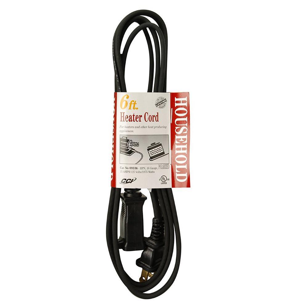 6 ft. 15 Amp HPN Appliance Cord, Black