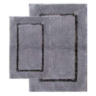 21 in. x 34 in. and 17 in. x 24 in. 2-Piece Greenville Bath Rug Set in Pewter