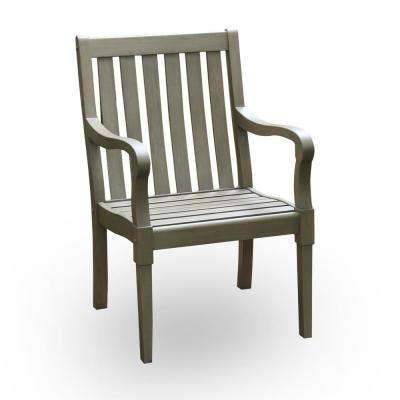 Lyon Ergonomic Solid Wood Outdoor Dining Arm Chair (2-Pack)