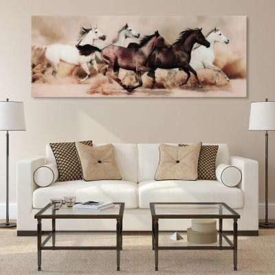 "63 in. x 24 in. ""Stampede"" Frameless Free Floating Tempered Glass Panel Graphic Art"