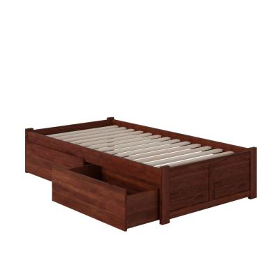 Concord Walnut Twin XL Platform Bed with Flat Panel Foot Board and 2-Urban Bed Drawers