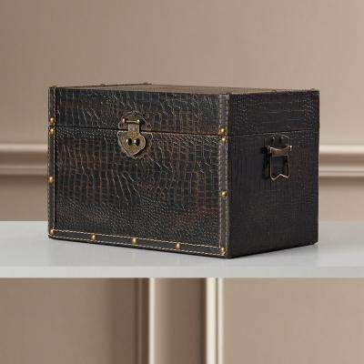 13 in. x 8 in. x 8 in. Faux Leather Wooden Decorative Trunk/Box