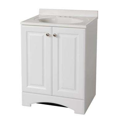 24 in. W Vanity in White with AB Engineered Composite Vanity Top in White
