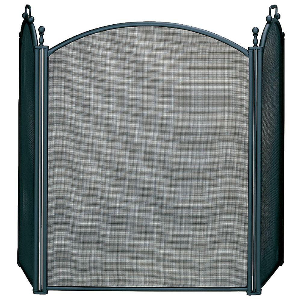UniFlame Black Large Diameter 3 Panel Fireplace Screen With Woven Mesh