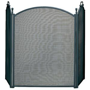 uniflame fireplace. UniFlame Black Large Diameter 3 Panel Fireplace Screen with Woven  Mesh S 3652 The Home Depot
