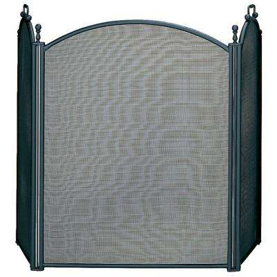 Black Large Diameter 3-Panel Fireplace Screen with Woven Mesh