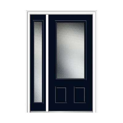 50 in. x 80 in. Micro Granite Right-Hand 3/4-Lite 2-Panel Classic Painted Fiberglass Prehung Front Door with Sidelite