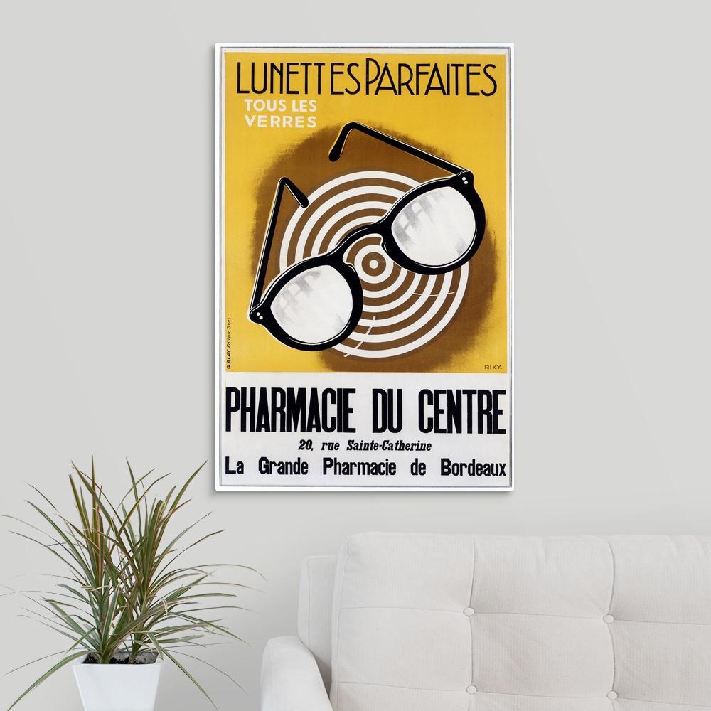"""Lunettes Parfaites, Eyeglasses,Vintage Poster"" by ArteHouse Canvas Wall Art"