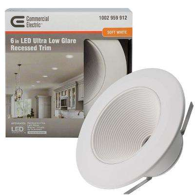 6 in. White Ultra Low Glare Integrated LED Mini Step Recessed Downlight Trim