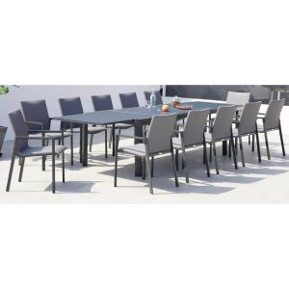 Ritz Dark Grey 13-Piece Aluminum Outdoor Dining Set with Sling Set in Ash Grey