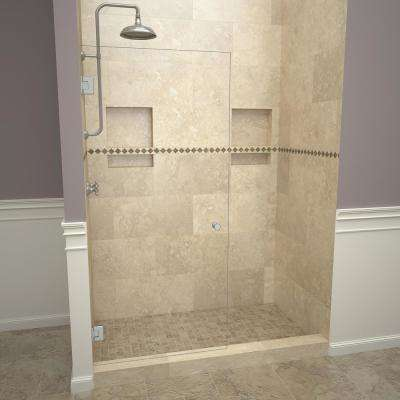 2000V Series 78 in. W x 76 in. H Frameless Pivot Shower Door in Brushed Nickel with Knobs