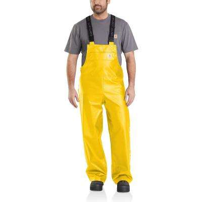 Men's 2X Large Tall Yellow Polyethylene/Polyester Midweight Waterproof Rain Storm Unlined Bibs