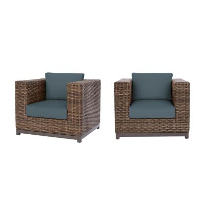 Fernlake Taupe Wicker Outdoor Patio Stationary Lounge Chair with Sunbrella Denim Blue Cushions (2-Pack)