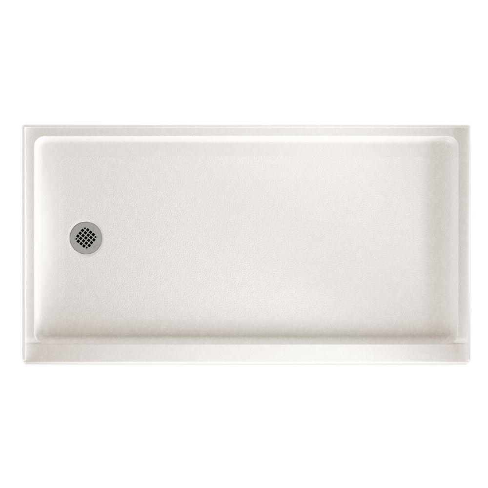 32 in. x 60 in. Solid Surface Single Threshold Retrofit Left-Drain