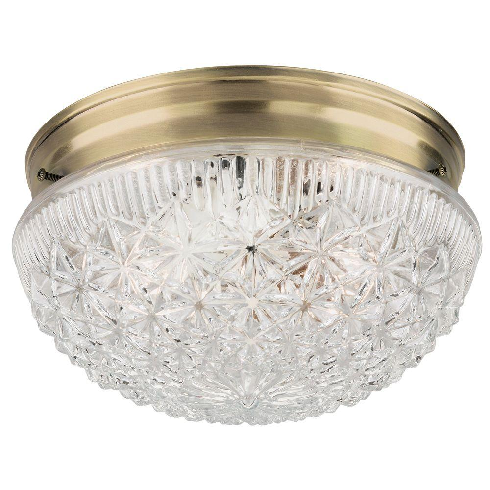 Westinghouse 2 Light Ceiling Fixture Antique Br Interior Flush Mount With Clear Faceted Gl