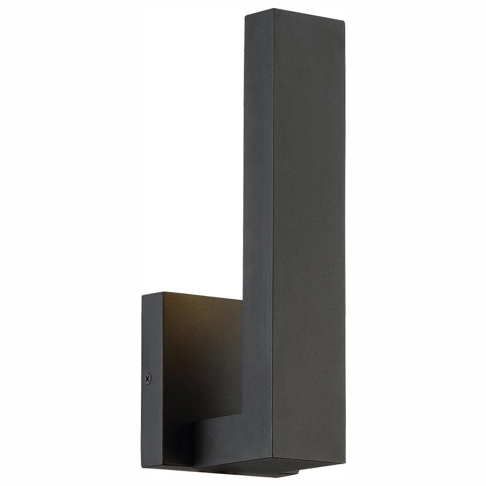 Home Decorators Collection Vanderhoven 1-Light Sand Black Outdoor Integrated LED Wall Lantern Sconce with Etched Glass