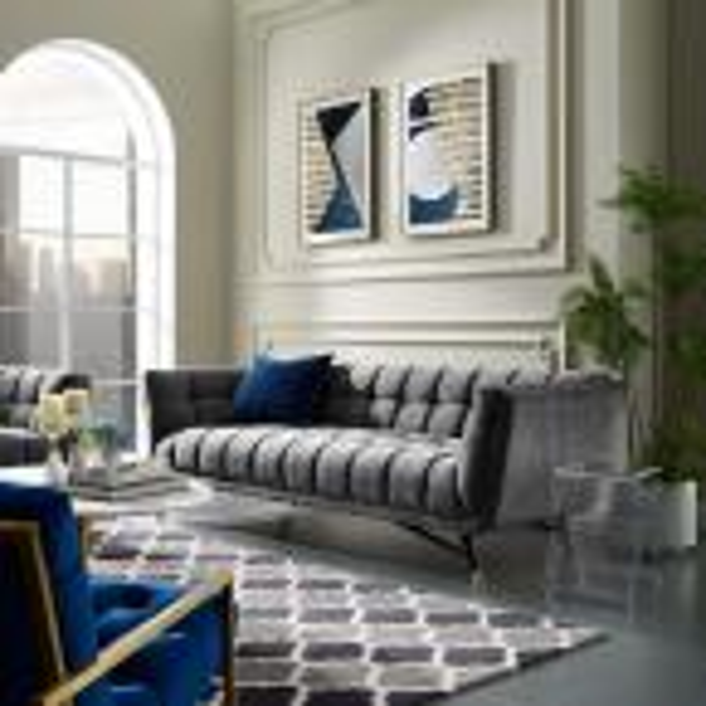 Adept Gray Upholstered Velvet Sofa