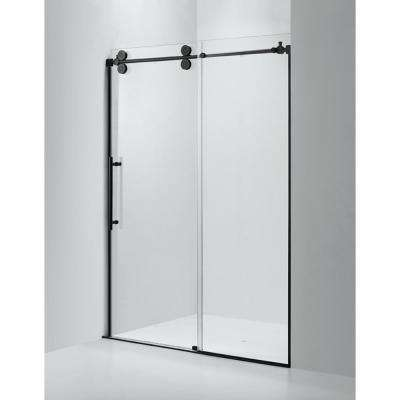 60 in. x 79 in. Frameless Sliding Shower Door in Black