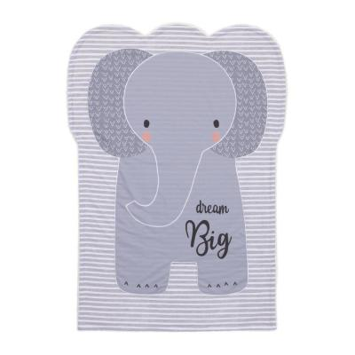 Dream Big Grey and White Emma the Elephant Knit Shaped Polyester Baby Blanket