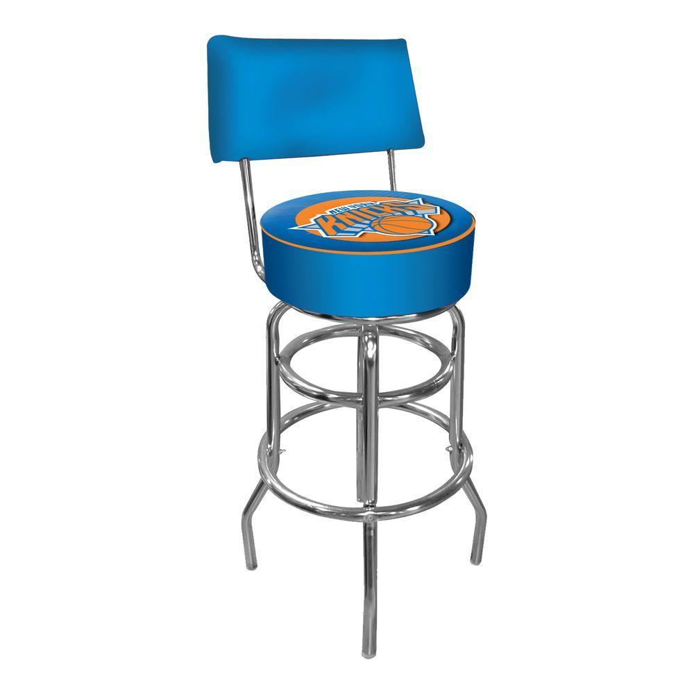 Trademark New York Knicks Nba 30 In Chrome Padded Swivel Bar Stool