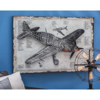 Litton Lane 31 in. x 47 in. Rustic Wood and Iron Vintage Plane Blueprint Wall Art, Multi