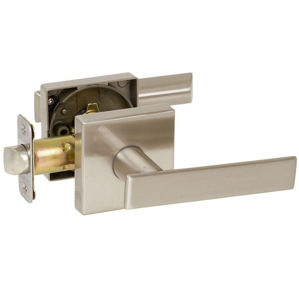 Kira Satin Nickel Bedroom and Bathroom Right-Hand Door Lever Door Lock