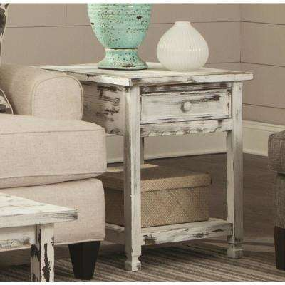 Country Cottage Rustic White Antique End Table