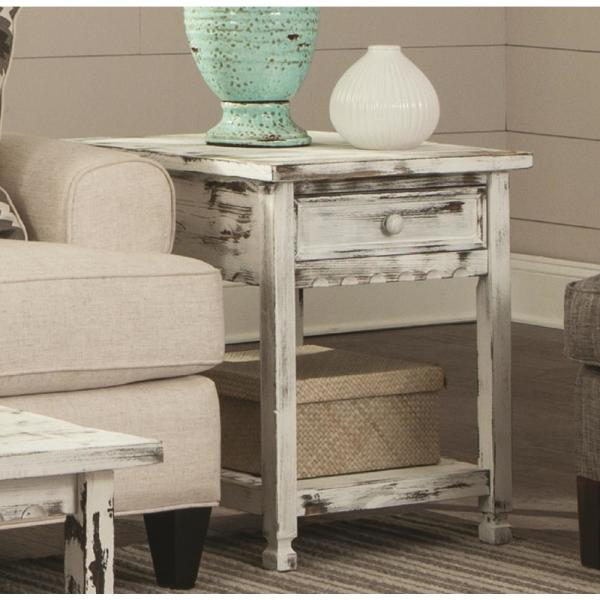Alaterre Furniture Country Cottage Rustic White Antique End Table ACCA01WA