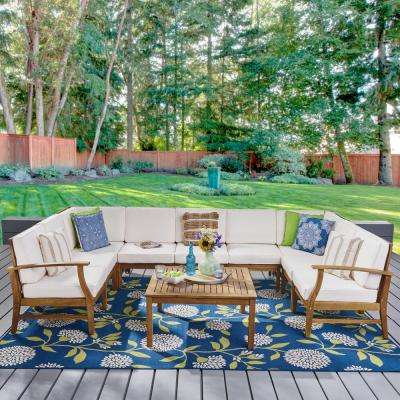 Giancarlo Teak 10-Piece Wood Outdoor Sectional Set with Cream Cushions