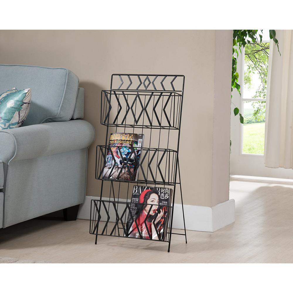 Kings Brand Furniture Black Metal 3-Tier Magazine Rack