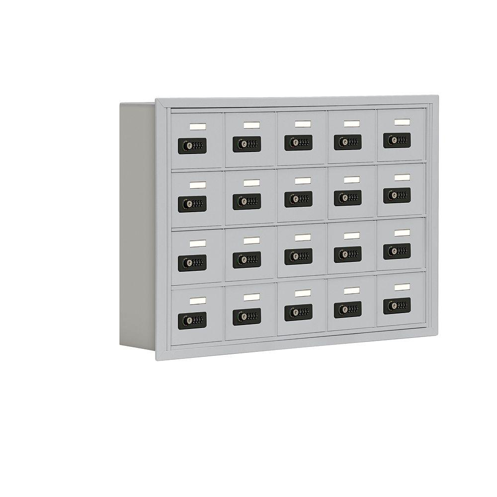 Salsbury Industries 19000 Series 37 in. W x 25.5 in. H x 5.75 in. D 20 A Doors R-Mount Resettable Locks Cell Phone Locker in Aluminum