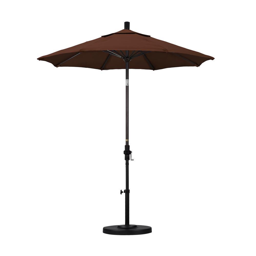 7.5 ft. Bronze Aluminum Pole Fiberglass Ribs Market Collar Tilt Crank Lift Outdoor Patio Umbrella in Bay Brown Sunbrella