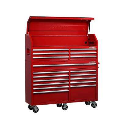 61 in. W x 18 in. D 18-Drawer Tool Chest and Cabinet Combo in Red
