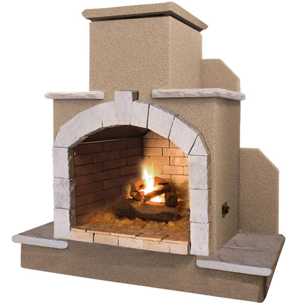 Cal Flame 78 In Propane Gas Outdoor Fireplace Frp915 1 The Home Depot