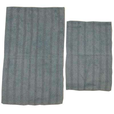 Light Blue 21 in. x 34 in. and 24 in. x 40 in. Linear Reversible Reversible Bath Rug Set (2-Piece)