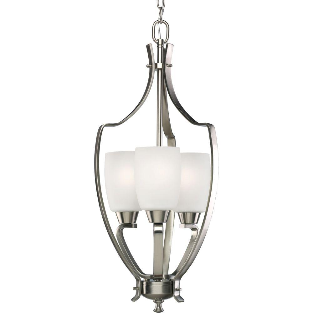 Progress Lighting Wisten Collection 3 Light Brushed Nickel Foyer Pendant With Etched Glass