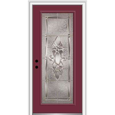 32 in. x 80 in. Heirlooms Right-Hand Inswing Full Lite Decorative Painted Steel Prehung Front Door on 4-9/16 in. Frame