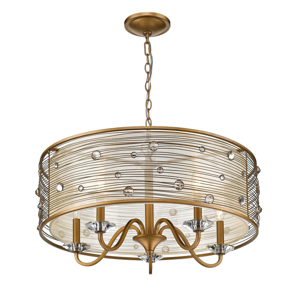 Joia 5-Light Peruvian Gold Chandelier Light with Sheer Filigree Mist Shade
